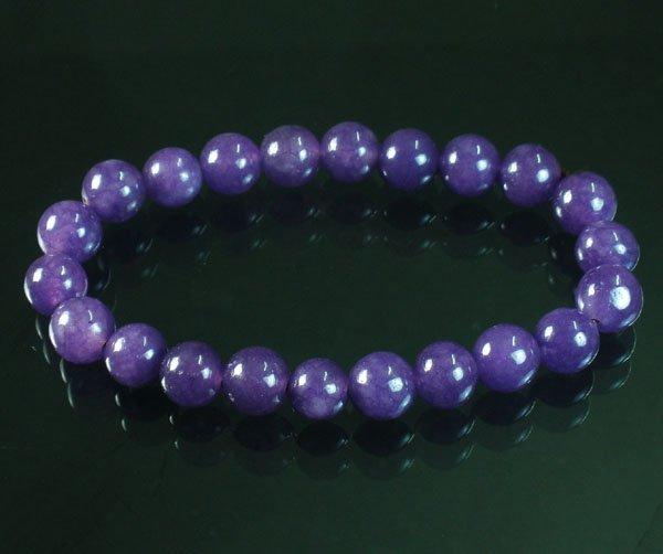Tibet Purple Jade Gemstone Beads Buddhist Mala Bracelet WZ226