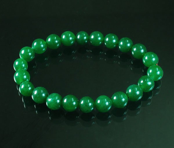 Tibetan Green Jade Gemstone Bead Buddhist Mala Bracelet WZ223