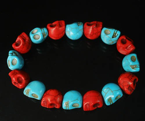 New Twin Color Turquoise Baby Blue Red Skull Bead Beads Stretch Bracelet for Men Women ZZ2259