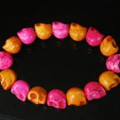 New Twin Color Turquoise Hot Pink Orange Skull Bead Beads Stretch Bracelet for Men Women ZZ2261
