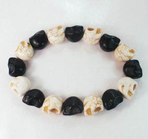 New Twin Color Turquoise Black White Skull Bead Beads Stretch Bracelet for Men Women ZZ2272