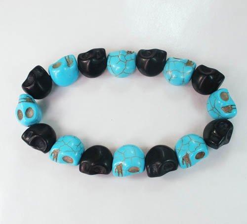 New Twin Color Turquoise Baby Blue Black Skull Bead Beads Stretch Bracelet for Men Women ZZ2276