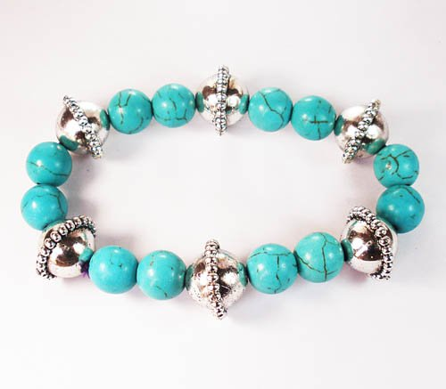 Silvery Plated Resin Bead Turquoise White Bead Stretch Bracelet for Men Women ZZ2117