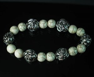 Silvery Plated Resin Bead Turquoise White Bead Stretch Bracelet for Men Women ZZ2123