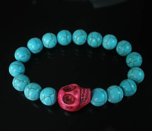 Turquoise Hot Pink Skull Bead Baby Blue Veins Ball Beads Stretch Bracelet for Men Women ZZ227