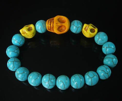Turquoise Orange Yellow Skull Bead Baby Blue Veins Ball Beads Stretch Bracelet for Men Women ZZ236