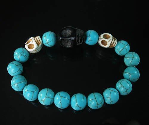 Turquoise Black White Skull Bead Baby Blue Veins Ball Beads Stretch Bracelet for Men Women ZZ242