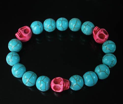 Turquoise Hot Pink Skull Bead Baby Blue Veins Ball Beads Stretch Bracelet for Men Women ZZ247