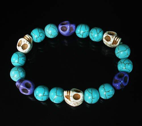 Turquoise White Purple Skull Beads Baby Blue Veins Ball Beads Stretch Bracelet for Men Women ZZ256