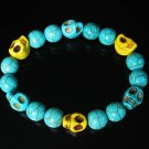 Turquoise Baby Blue Yellow Skull Beads Baby Blue Veins Ball Beads Stretch Bracelet ZZ261