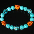 Turquoise Baby Blue Orange Skull Beads Baby Blue Veins Ball Beads Stretch Bracelet ZZ265