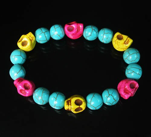 Turquoise Yellow Hot Pink Skull Beads Baby Blue Veins Ball Beads Stretch Bracelet ZZ270