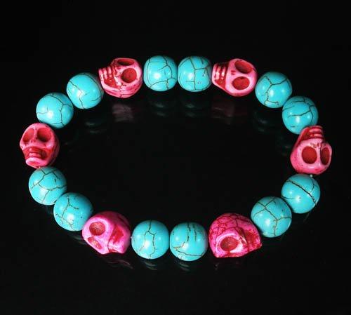Turquoise Hot Pink Skull Beads Baby Blue Veins Ball Beads Stretch Bracelet for Men Women ZZ271