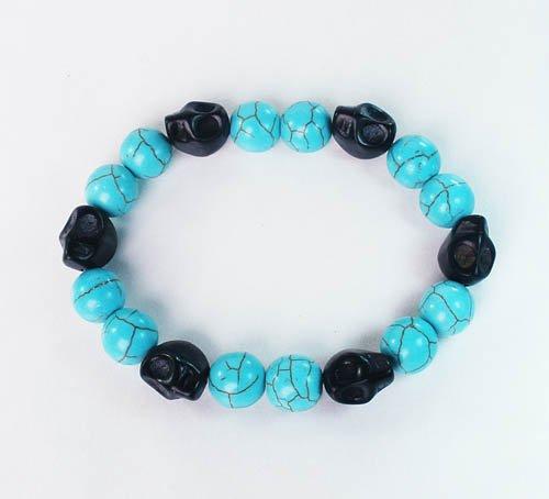 Turquoise Black Skull Beads Baby Blue Veins Ball Beads Stretch Bracelet for Men Women ZZ274