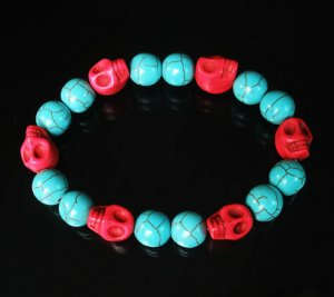 Turquoise Red Skull Beads Baby Blue Veins Ball Beads Stretch Bracelet for Men Women ZZ277