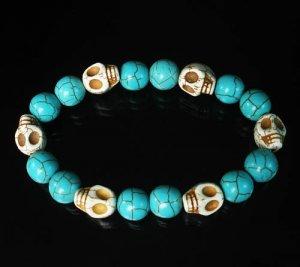 Turquoise White Skull Beads Baby Blue Veins Ball Beads Stretch Bracelet for Men Women ZZ278