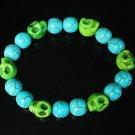 Turquoise Green Skull Beads Baby Blue Veins Ball Beads Stretch Bracelet for Men Women ZZ281