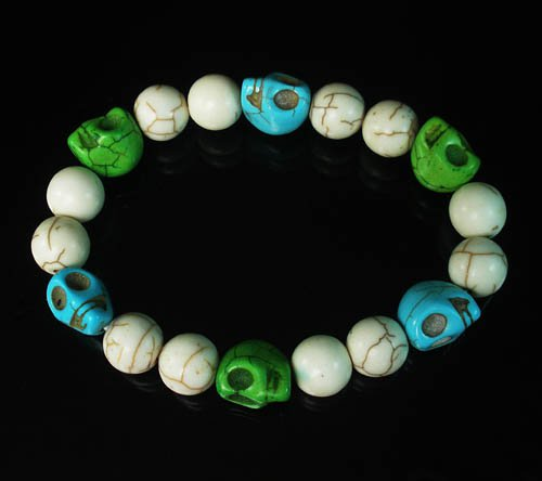 Turquoise Baby Blue Green Skull Beads White Veins Ball Beads Stretch Bracelet ZZ282