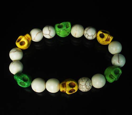 Turquoise Green Yellow Skull Beads White Veins Ball Beads Stretch Bracelet for Men Women ZZ292