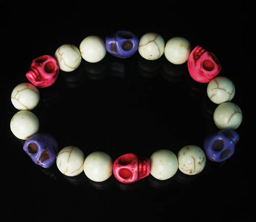 Turquoise Colorful Hot Pink Purple Skull Beads White Veins Ball Beads Stretch Bracelet ZZ293