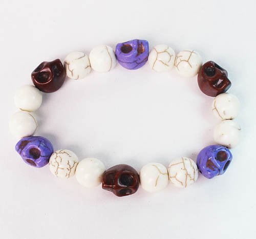 Turquoise Colorful Brown Purple Skull Beads White Veins Ball Beads Stretch Bracelet ZZ294