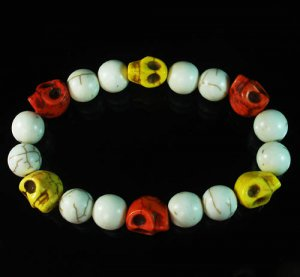 Turquoise Colorful Red Yellow Skull Beads White Veins Ball Beads Stretch Bracelet ZZ295