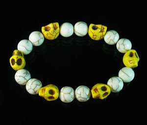 Turquoise Colorful Yellow Skull Beads White Veins Ball Beads Stretch Bracelet ZZ298