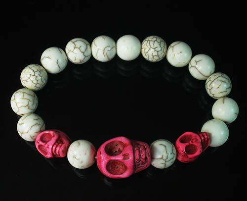 Turquoise Colorful Hot Pink Skull Beads White Veins Ball Beads Stretch Bracelet ZZ2136