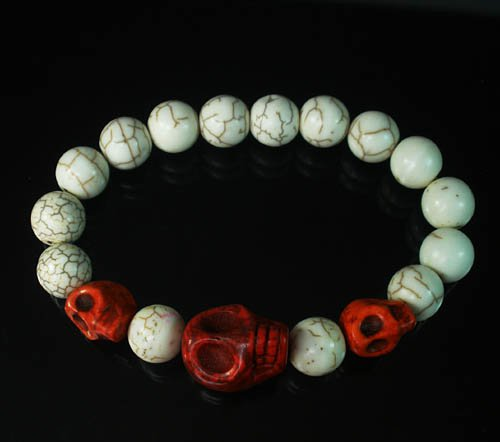 Turquoise Colorful Red Skull Beads White Veins Ball Beads Stretch Bracelet ZZ2141
