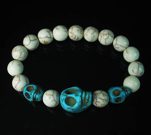 Turquoise Colorful Baby Blue Skull Beads White Veins Ball Beads Stretch Bracelet ZZ2142