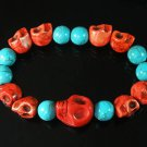 Turquoise Colorful Red Skull Beads Baby Blue Veins Ball Beads Stretch Bracelet ZZ2154