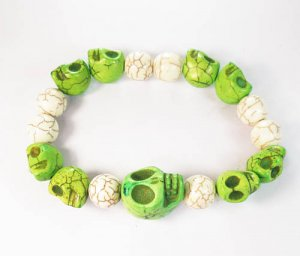 Turquoise Colorful Green Skull Beads White Veins Ball Beads Stretch Bracelet ZZ2158