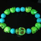 Turquoise Colorful Green Skull Beads Blue Veins Ball Beads Stretch Bracelet ZZ2161