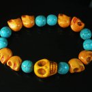 Turquoise Colorful Orange Skull Beads Blue Veins Ball Beads Stretch Bracelet ZZ2163