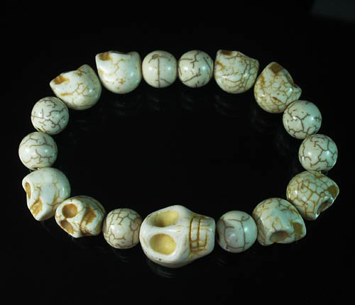 Turquoise Colorful White Skull Beads White Veins Ball Beads Stretch Bracelet ZZ2164