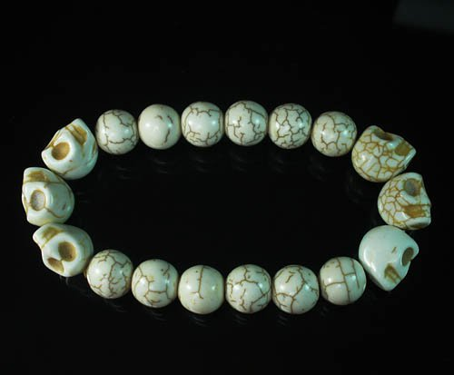 Turquoise Colorful White Skull Beads Veins Ball Beads Stretch Bracelet ZZ2183