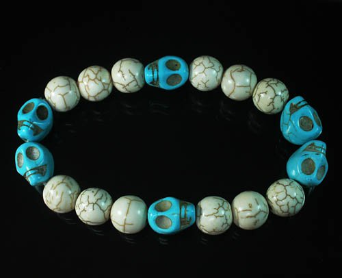 Turquoise Colorful Blue Skull Beads White Veins Ball Beads Stretch Bracelet ZZ2191