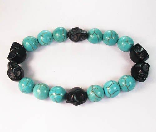 Turquoise Colorful Black Skull Beads Blue Veins Ball Beads Stretch Bracelet ZZ2204