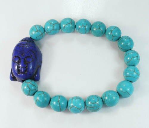 Turquoise Dark Blue Buddha Beads Baby Blue Veins Ball Beads Stretch Bracelet ZZ2210