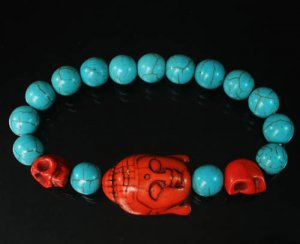 Turquoise Red Buddha Skull Beads Blue Veins Ball Beads Stretch Bracelet ZZ2239