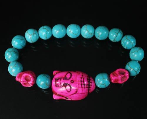 Turquoise Hot Pink Buddha Skull Beads Blue Veins Ball Beads Stretch Bracelet ZZ2243