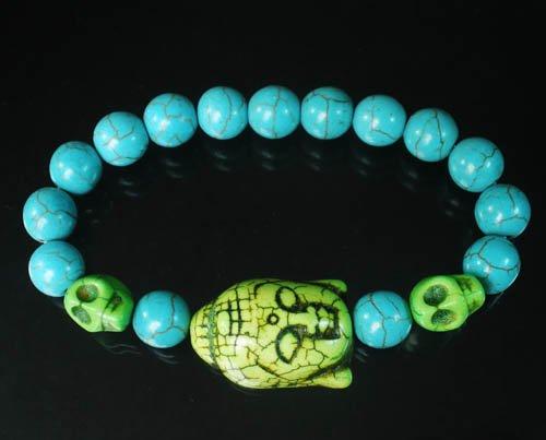 Turquoise Green Buddha Skull Beads Blue Veins Ball Beads Stretch Bracelet ZZ2244