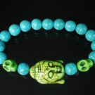 Turquoise Green Buddha Skull Beads Blue Veins Ball Beads Stretch Bracelet ZZ2244