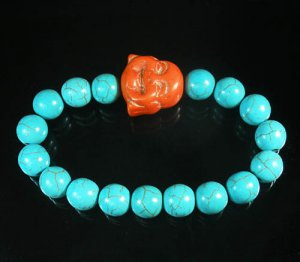 Turquoise Orange Smile Buddha Bead Blue Veins Ball Beads Stretch Bracelet ZZ2290
