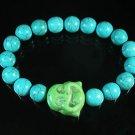 Turquoise Green Smile Buddha Bead Blue Veins Ball Beads Stretch Bracelet ZZ2294