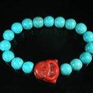 Turquoise Red Smile Buddha Bead Blue Veins Ball Beads Stretch Bracelet ZZ2295