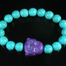Turquoise Purple Smile Buddha Bead Blue Veins Ball Beads Stretch Bracelet ZZ2296