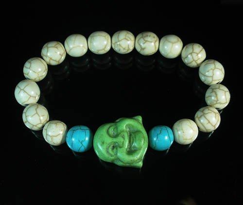 Turquoise Green Smile Buddha Bead Blue White Veins Ball Beads Stretch Bracelet ZZ2300