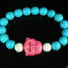 Turquoise Pink Smile Buddha Bead Blue White Veins Ball Beads Stretch Bracelet ZZ2304