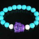 Turquoise Purple Smile Buddha Bead Blue White Veins Ball Beads Stretch Bracelet ZZ2305